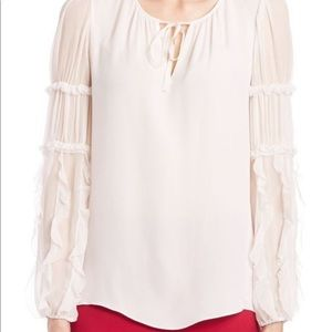 Silk Top Shear Long Sleeve Ruffle Tassel tie